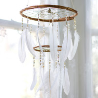Chandelier Dream Catcher Mobile - White Nursery Mobile Boho Mobile Boho Crib Mobile Nursery Gift Bohemian Home Hanging Willow Dream Mobile