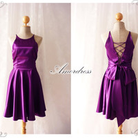 Party Queen Purple Violet Open Bodice Back Dress Backless Vintage Inspired Party Prom Wedding Dinner Dancing Bridesmaid Evening Dress