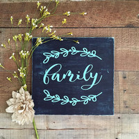 Family Signs,Wall Art,Wood Wall Art,Sorority Sign,Wooden Family Sign,Preppy Home Decor,Navy Blue and Mint Home,Wedding Gift,Holiday Gift