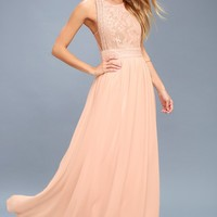 Forever and Always Blush Pink Lace Maxi Dress