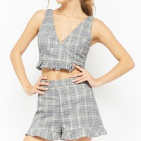 Glen Plaid Ruffle-Trim Shorts