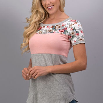 A Hint of Floral Top - Light Peach
