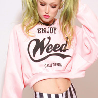 ENJOY WEED CROP SWEAT SHIRT - UNITED COUTURE