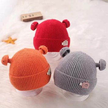 Cute Cartoon Mushroom Children's Hats For Boys And Girls Warm Knitted Hats Woolen Hooded Baby Hats Autumn And Winter