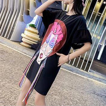 Women Loose Personality Multicolor Pattern Print Short SleeveT-shirt  Dress