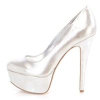 Silver Platform Pump High Heels Metallic Faux Leather