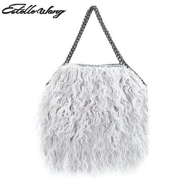 Estelle Wang Casual Tote Faux Fur Totes Handbags Women Fashion Winter Chain Crossbody Bags Pvc Leather Small 3 Chains Bag 2 size
