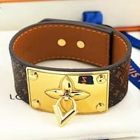 LV Louis vuitton New fashion monogram print leather bracelet women