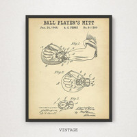 Ball Player's Mitt Patent Art, Digital Download, Official US Patent Prints, Baseball Fan Gifts, Vintage Baseball Poster, MLB Sports Decor