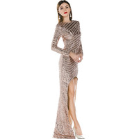 Free Shipping Missord 2015 Sexy backless long sleeve irregular sequin maxi dress FT3211