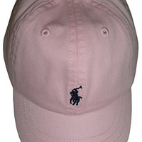 Ralph Lauren Polo Infant Girls Hat Ball Cap Bath Pink with Navy Pony