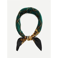 Plaid Print Bandana Scarf Multicolor