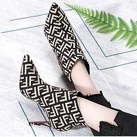Fendi Fashion New More Letter Print Pointed High Heels Shoes Boots Brown Women Apricot