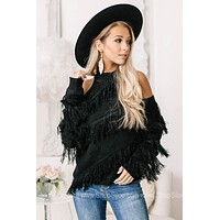 Stepping On Out Cold Shoulder Fringe Sweater