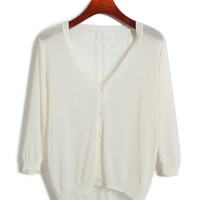 V-neck Cuff Sleeve Mesh Lace Blouse