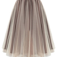 Mesh Midi Tutu Skirt with Elastic Waste