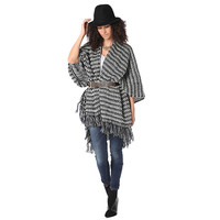 Q2 Store Pattern Knit Cape Poncho with Fringed Edges