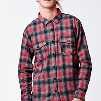 HUF Sayulita Flannel Red Long Sleeve Button Up Shirt - Mens Shirts - Red