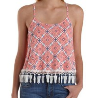 Coral Tile Print Crochet-Trim Tank Top by Charlotte Russe