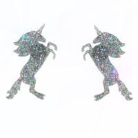 Large Unicorn Earrings in Glitter Hologram