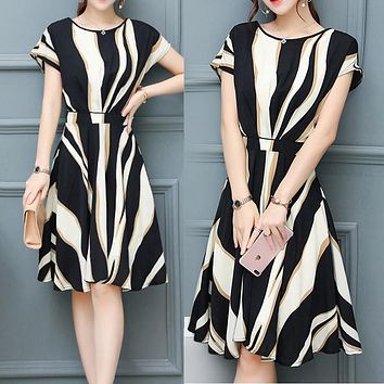 Summer new mid-long dress women's fashion casual loose A-shaped skirt