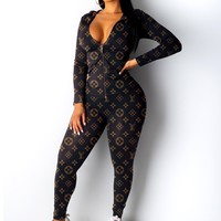 LV new full printed logo women's sports suit two-piece
