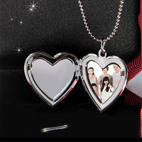 Gold and Silver Plated Photo Memory Heart Locket Necklaces