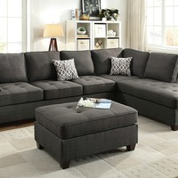 2 pc Jackson collection ash black dorris fabric upholstered sectional sofa with reversible chaise lounge