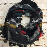Chilly Thoughts Grey Multi Print Scarf
