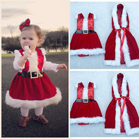 2pcs!!Infant Baby Girl Warm Clothes Chrismas Clothes Sets Dress Cloak Coat Party Warm Christmas Outfits Set Clothing Baby Girls