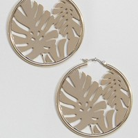 Skinnydip Gold Hoop Earrings With Palm Leaf at asos.com