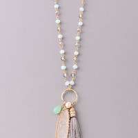 Boho Beaded Tassel & Stone Necklace