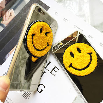 Mirror Skin cases for iphone 5 5s 6 6s 6 plus 6s plus with Smile Face & Blink Model design cell phone Accessories   1521