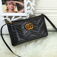 Gucci Stylish Women Leather Metal GG Letter Logo Crossbody Shoulder Bag Satchel Black I
