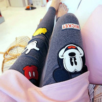 Sport Nylon Punk Jeggings Rushed Cartoon Mid Cotton Bamboo Fiber Legins 2015 South Korea Shopping Fashion Mickey Leggings Women