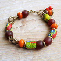 Tribal  African Trade Beads Bracelet, Millefiori Beads Dark Red Carnelian Lime Green African Brass Rings, Beaded Rustic Ethnic Jewelry OOAK