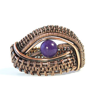 Purple Jade Copper Eye Ring, Evil Eye Ring, Wide Band Ring, Woven Wire Jewelry, Size 8 Ring