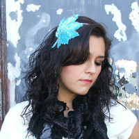 Womens Turquoise Leaf Sequin Beaded Headband, Adult Teen Hair Accessories by Flower Couture