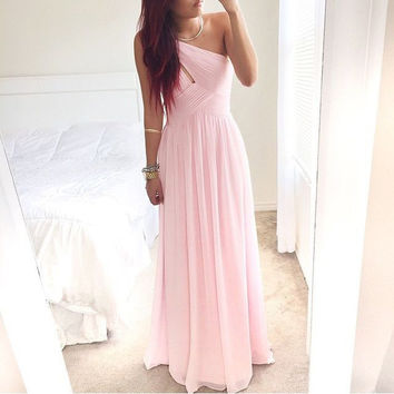 One Shoulder Pink Chiffon Bridesmaid Dresses Homecoming Dresses pst0124