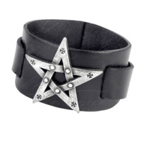 Magically intoned icon of power. This bracelet has a wide black leather strap, bearing a large cast pewter pentagram motif. Sold as one size, with an adjustable buckle style fitting. A signature piece to protect the wearer from evil.