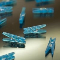 "18 Mini Clear Blue Clothes Pins 1"" Clothespins Wedding Baby Shower Games"