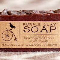 Purple Clay Soap- All Natural Soap,Handmade Soap,Acne Soap, Purple Clay Soap,anti-cellulite soap,Spa Soap,Unscented Soap