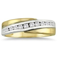 14k Two-tone Diamond Channel Men's Ring