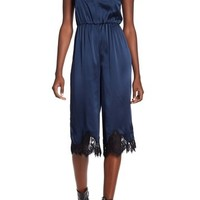 alice + olivia | Quincy Lace Trim Silk Gaucho Jumpsuit | Nordstrom Rack