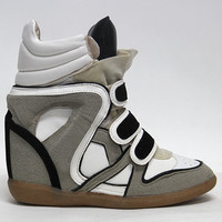 Womens Colors High Top Strap Concealed Wedge Sneakers Shoes / Ladies Ankle Boots