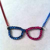 Fun two toned pink and blue bling glasses necklace, geekery geek jewelry