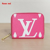 Louis Vuitton LV New Fashion Letter Print Leather Clutch Bag Wallet Rose Red