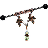 Handcrafted Twin Leaf Industrial Barbell MADE WITH SWAROVSKI CRYSTALS | Body Candy Body Jewelry