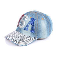 2016 American USA letter colorful women crystal Rhinestones decorate active denim cotton snapback hat for girls caps