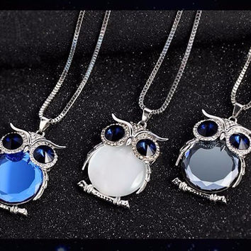 Choice of Crystal Womens Fashion Owl Necklaces. Ladies Necklace